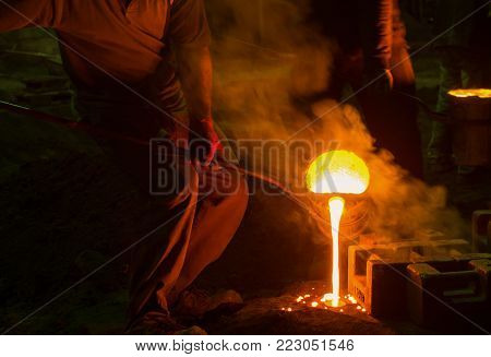 Steel Foundry Workplace with worker.Melting Iron.Industry concept.