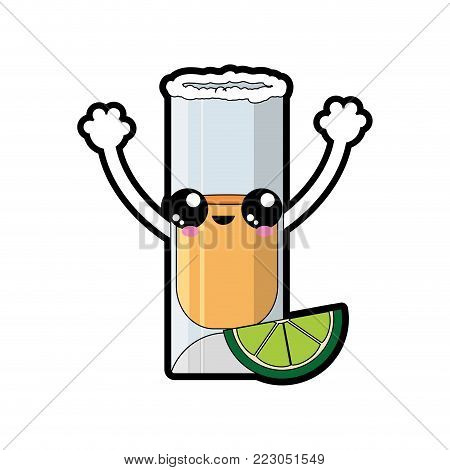 Shot of alcohol drink and glass theme Isolated design Vector illustration