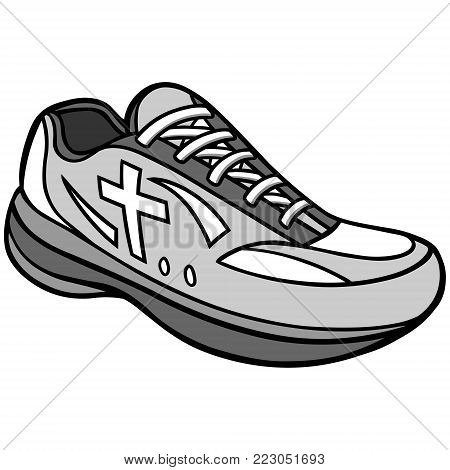 Christian Track Illustration - A vector cartoon illustration of a Christian Track running shoe.