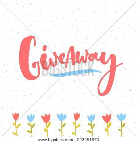 Giveaway banner with pink handwritten word and hand drawn tulip flowers