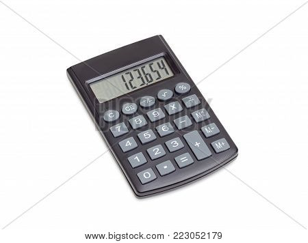 Modern electronic pocket calculator with a liquid-crystal display on a white background