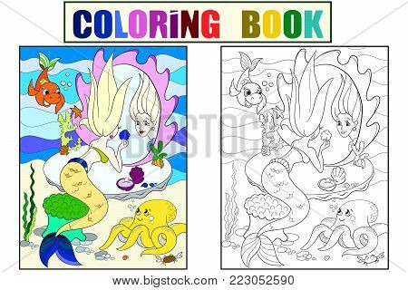 mermaid looks in the mirror coloring book for children cartoon vector illustration. Underwater world, octopus, fairy tale, fish, princess friends, mirror. Color, Black and white