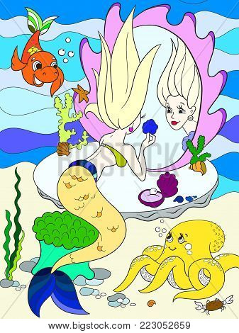 mermaid looks in the mirror color book for children cartoon vector illustration. Underwater world, octopus, fairy tale, fish, princess friends, mirror.
