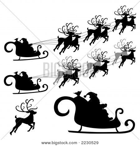 Santa And Reindeer Silhouette