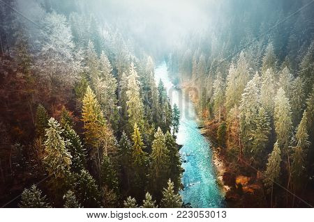 Bavarian wilderness covered in fog. View from the Echelsbach bridge, Germany