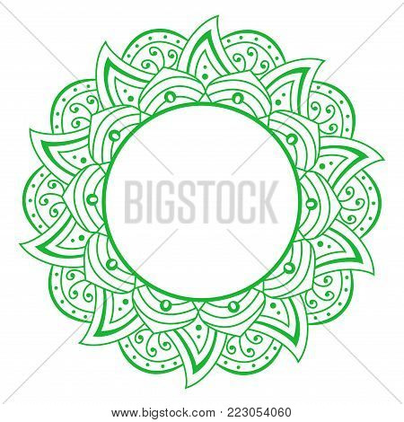 Vector openwork cloth green. Round frame. Brown Pattern Vector flower Mandala. Oriental circle pattern, asian, Indian, Arabic. Isolated on White.