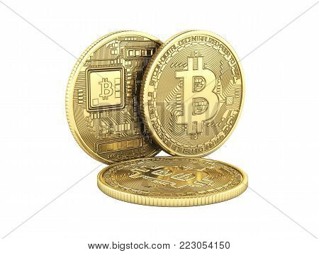 Bitcoin 3D isometric Physical bit coin in gold Digital currency Cryptocurrency Golden coins with symbol without shadow isolated on white background 3d render illustration