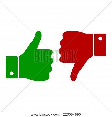 Thumb up and down icon. Like and dislike icon