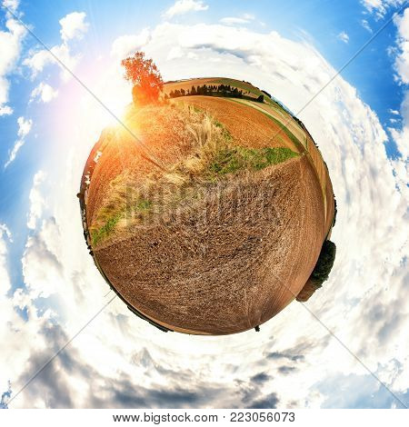 Concept design with little agriculture planet. Nature and agriculture background