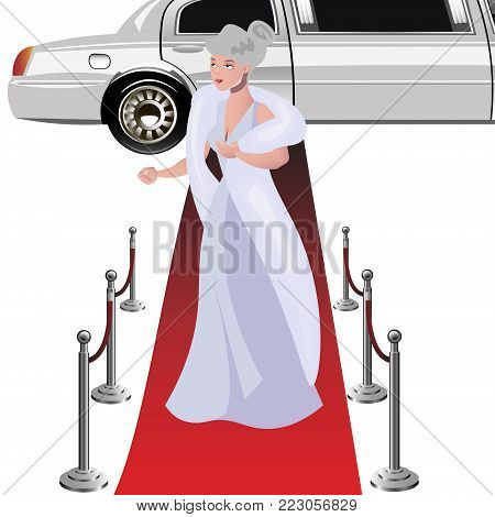 Beautiful elegant woman on the red carpet. Vector illustration