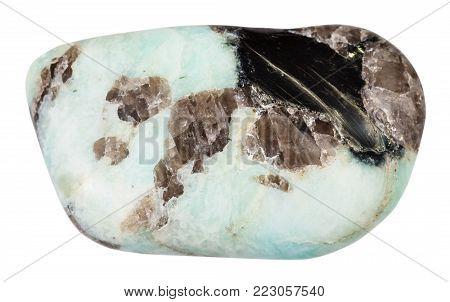 macro shooting of natural mineral rock specimen - tumbled Pegmatite stone isolated on white background from Etyka (Etykinskoe mine), Transbaikalia, Russia