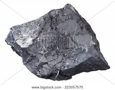 macro shooting of natural mineral rock specimen - shungite shale stone isolated on white background from Tolvuya district, Karelia, Russia