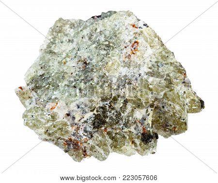 macro shooting of natural mineral rock specimen - rough olivine stone isolated on white background from Kovdor region, Kola Peninsula, Russia