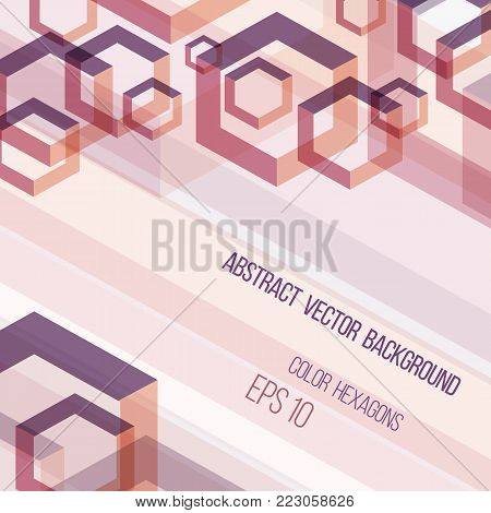 Abstract vector background template. Color overlapping hexagons shapes. Eps 10 file.