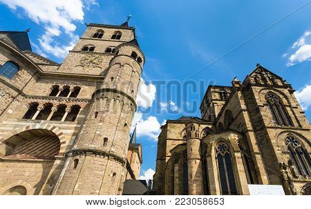 TRIER, GERMANY - JUNE 28, 2010: towers of Cathedral of Trier in summer. The Dom is the oldest cathedral in Germany, first building was built in 270 years