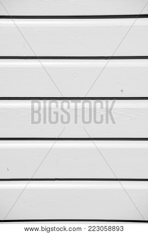Wooden Clapboard Background Of Textured Siding Painted In Blue Color With Horizontal Lines And Nobod