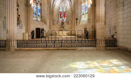 AMBOISE, FRANCE - JULY 8, 2010: interior of church Eglise Saint-Florentin in Amboise town. Amboise is commune in the Indre-et-Loire department on the banks of the Loire River