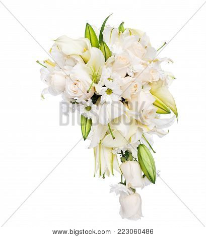 Wedding bouquet of roses, lillies and camomile over white background