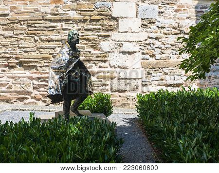 AACHEN, GERMANY - JUNE 27, 2010: statue of Statue of St Stephen of Hungary near wall of Aachen Cathedral. Aachen town was the place where 31 Holy Roman Emperors were crowned Kings of the Germans