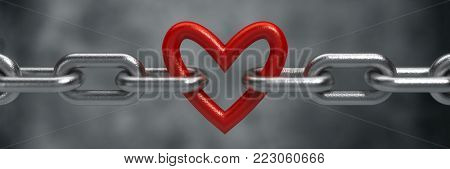 Red heart held by a steel chain background - 3d render
