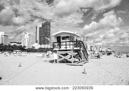 Miami, Usa - January 10, 2016: Miami Beach Or South Beach. Open Wooden Tower With Lifeguard Man Patr