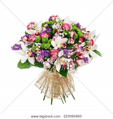 Bouquet of roses, alstromeries and lillies over white background
