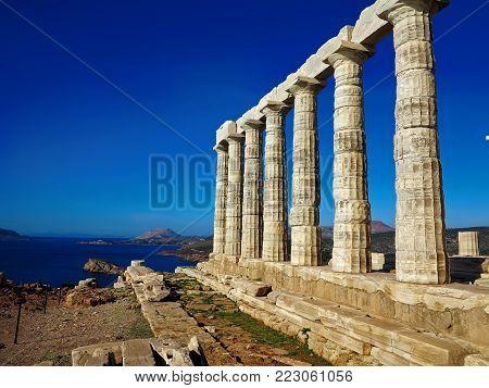 Ancient Temple of Poseidon  in Capo Sunio in Attica Greece view on the sea