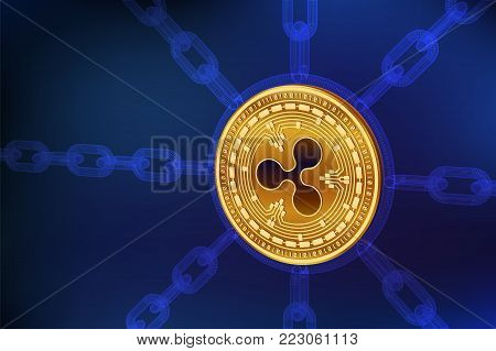 Cryptocurrency. Blockchain. Ripple. 3D isometric Physical Ripple coin with wireframe chain. Block chain concept. Editable template. Stock vector illustration