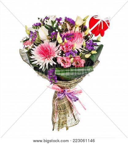 Beautiful bouquet with chrysanthemums, lillies and roses isolated on white background