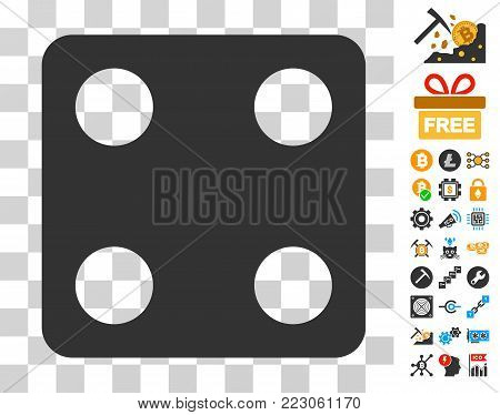 Dice pictograph with bonus bitcoin mining and blockchain pictographs. Vector illustration style is flat iconic symbols. Designed for bitcoin software.