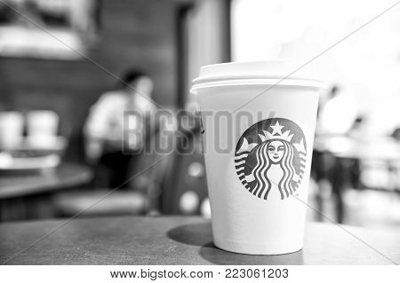 Berlin, Germany-May 31.2017: A tall Starbucks coffee in starbucks coffee shop. Starbucks is the world's largest coffee house with over 20,000 stores in 61 countries.