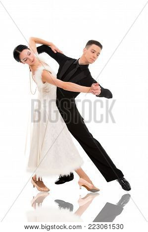 Dance Ballroom Couple In A Dance Pose Isolated On White Background