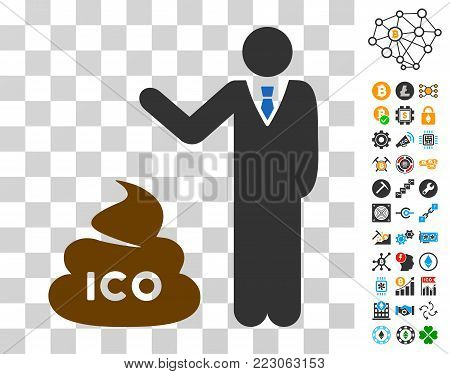 Businessman Show Ico Shit pictograph with bonus bitcoin mining and blockchain pictographs. Vector illustration style is flat iconic symbols. Designed for blockchain websites.
