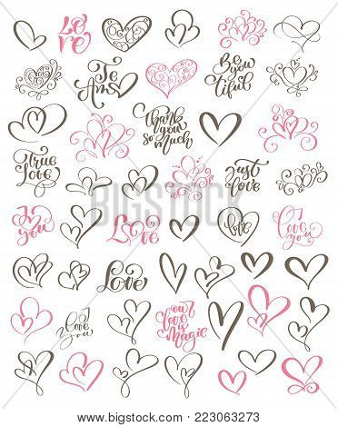 Big set hand written lettering about love to valentines day and heart design poster, greeting card, photo album, banner, flourish calligraphy vector illustration collection.