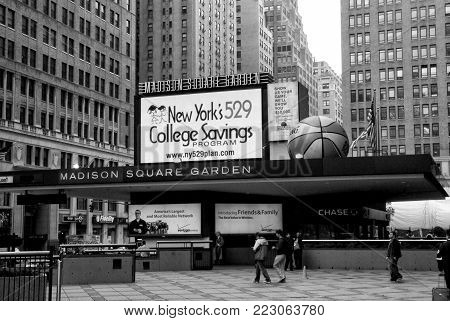 Entrance Marquee Of Madison Square Garden In New York, Usa