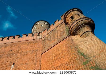 Wawel Royal castle in Krakow. Tower pictured in sunny day.