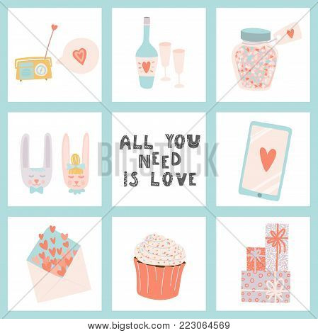 All you need is love. Hand drawn lettering and Valentine's Day signs. Stock vector