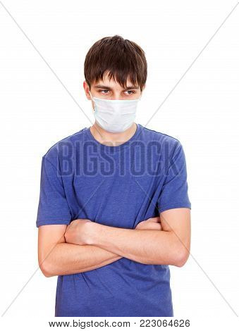 Sad Young Man in Flu Mask Isolated on the White Background