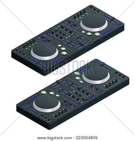 Isometric Black DJ Mixer Complete with Vinyl Player and Remote Control. Vector illustration.