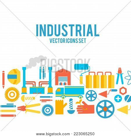 Industrial vector colored decorative icons set concept with cisterns, smokestacks, pliers, belts and others working tools vector illustration