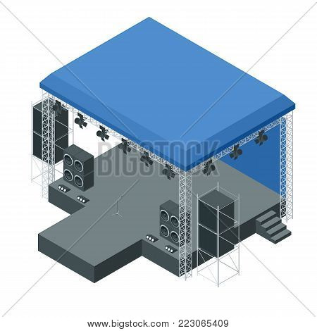 Isometric outdoor concert stage, truss system. Podium concert stage. Performance show entertainment, scene and event. Vector illustration.