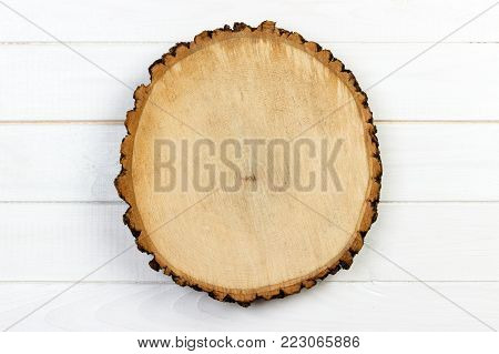 Tree stump round cut with annual rings on wooden background. top view with copy space.