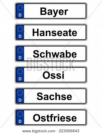 Detailed and accurate illustration of german specific vehicle registration plate on white