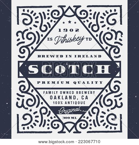 Old whiskey label, scotch label. Vintage design of alcohol label, logo design for banners, labels, sticker. Perfect for whiskey, beer, wine and other drinks.