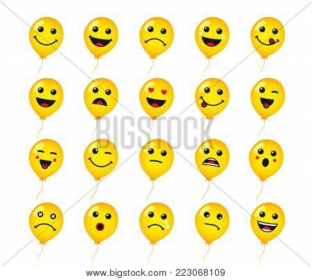 Set of round emoticons or emoji icon on yellow helium balloons. Smile of yellow helium balloon icons vector illustration isolated on white background. Concept for World Smile Day card or banner