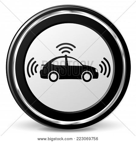 Illustration of autonomous car black and gray icon