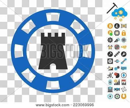 Castle Casino Chip pictograph with bonus bitcoin mining and blockchain pictographs. Vector illustration style is flat iconic symbols. Designed for cryptocurrency software.
