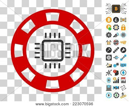 Cpu Casino Chip pictograph with bonus bitcoin mining and blockchain icons. Vector illustration style is flat iconic symbols. Designed for crypto currency apps.