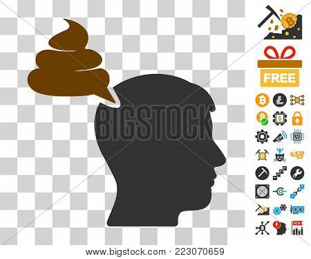 Crap Thinking Person icon with bonus bitcoin mining and blockchain design elements. Vector illustration style is flat iconic symbols. Designed for bitcoin ui toolbars.
