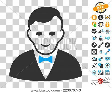 Croupier Manager pictograph with bonus bitcoin mining and blockchain design elements. Vector illustration style is flat iconic symbols. Designed for crypto currency websites.